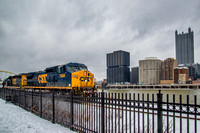 Train on the South Side of Pittsburgh in the snowy winter