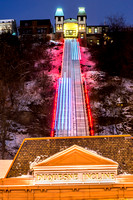 The Duquesne Incline streaks through the snow in Pittsburgh