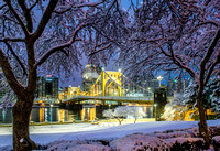 Trees frame the snow covered Clemente Bridge before dawn