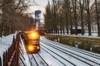 A train on the North Side of Pittsburgh in the snow
