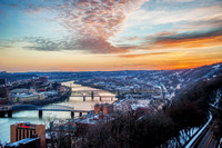 Before sunrise from Mt. Washington in Pittsburgh