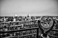 Pittsburgh skyline and viewfinder HDR B&W