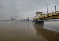 A panorama of PNC Park in the fog