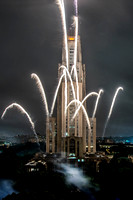 Fireworks go off from the Cathedral of Learning during homecoming 2016