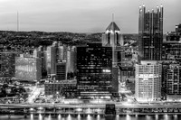 Pittsburgh skyline from Mt. Washington B&W HDR