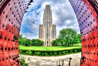 Cathedral of Learning with Heinz Chapel doors fisheye HDR