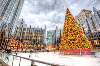 Christmas tree at the ice rink in PPG Place HDR