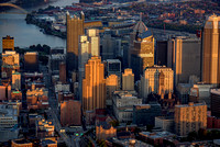 Downtown Pittsburgh glows a golden at dawn