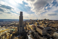Aerial view of the Cathedral of Learning in PIttsburgh