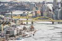Bridges over the icy Allegheny River in Pittsburgh
