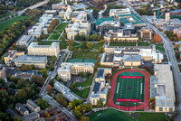 View of Carnegie Mellon University at sunrise from the air