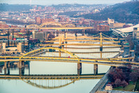 Bridges up the Allegheny River in Pittsburgh in the winter