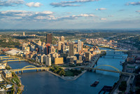 Close up aerial view of the Pittsburgh skyline