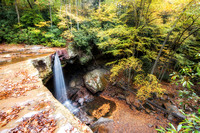 A view of Cucumber Falls in the fall at Ohiopyle State Park from above HDR