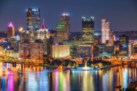 Colorful Pittsburgh skyline at night from the West End Overlook HDR