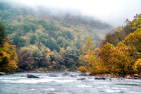Fog hangs over Ohiopyle State Park on the Youghiogheny River HDR