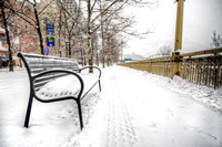 Snowy bench in Pittsburgh HDR