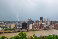 Lightning bolt over the Pittsburgh skyline from Mt. Washington