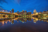 Reflections of the Pittsburgh skyline in the morning from the North Shore