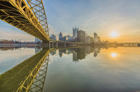 Sunrise below the Ft. Pitt Bridge in Pittsburgh along the Monongahela River