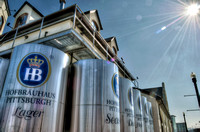 Beer vats outside of Hofbrauhaus in Pittsburgh HDR