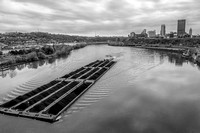 Barge on the Monongahela River and the Pittsburgh skyline