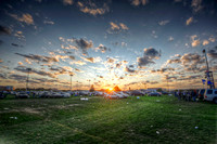 Sun setting over a parking lot at Beaver Stadium HDR
