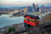The Duquesne Incline and Pittsburgh skyline as seen in the winter