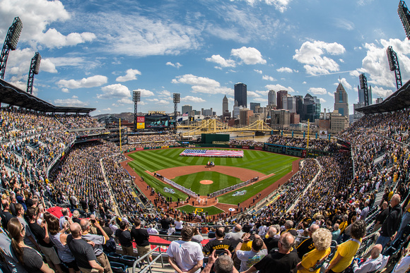 View behind home plate at PNC Park on a beautiful day