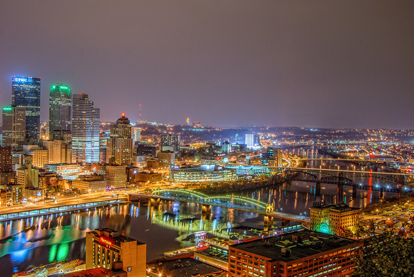 Looking up the Monongahela River at night from Mt. Washington in Pittsburgh HDR
