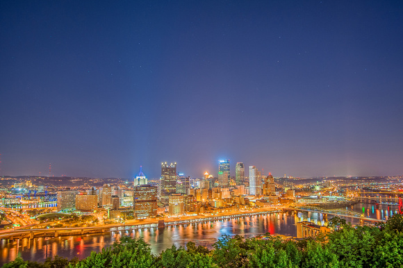 A night time view of the Pittsburgh skyline from Mt. Washington HDR