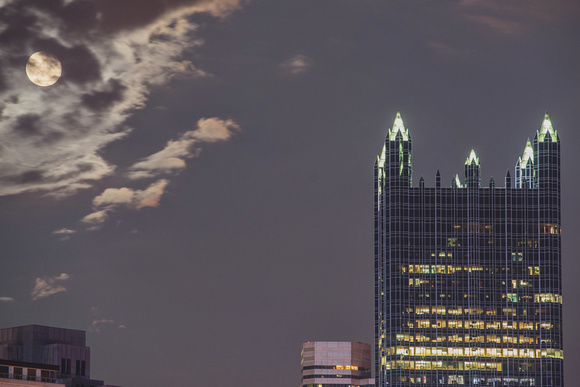The Supermoon above PPG Place