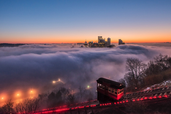 Incline on Mt. Washington over a fog covered Pittsburgh-2