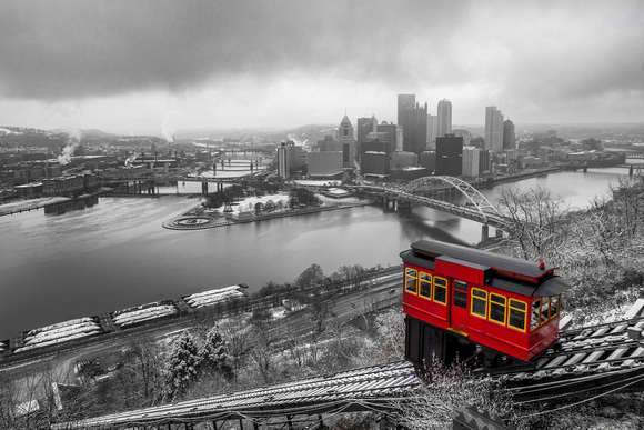 Selective color of the Duquesne Incline in the snow in Pittsburgh