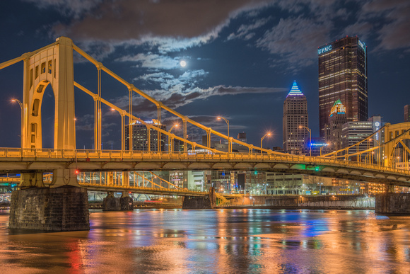 Supermoon over the North Shore of Pittsburgh