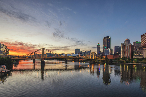 Pittsburgh sunrise from the Roberto Clemente Bridge