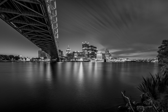 A long exposure under the Ft. Pitt Bridge in Pittsburgh - B&W