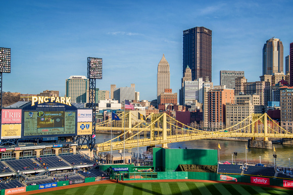 The Pittsburgh skyline and PNC Park scorecard