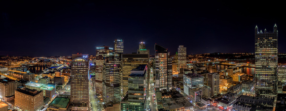 Panorama of Pittsburgh at night from the rooftops