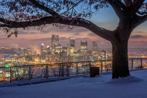 A tree frames the Pittsburgh skyline on a cold and snowy morning