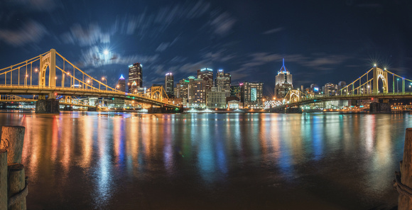 Panorama of the full moon over Pittsburgh from the North Shore