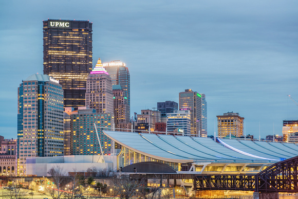 Pittsburgh skyline at the morning blue hour from the north
