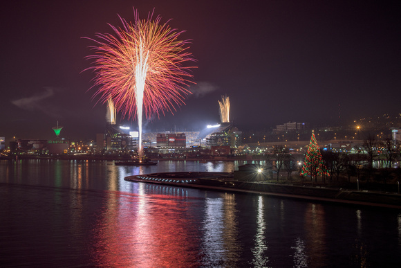 Fireworks explode over Heinz Field in Pittsburgh