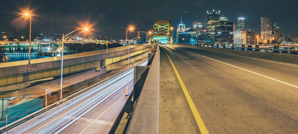 Light trails on the lower deck of the Ft. Pitt Bridge in PIttsburgh