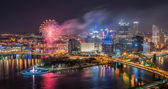 Panoramic view of fireworks over Pittsburgh