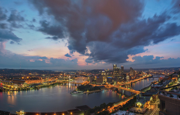 Storms rolling in over Pittsburgh at dawn