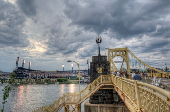 The Roberto Clemente Bridge leads fans to PNC Park in Pittsburgh