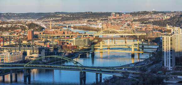 Panorama looking up the Allegheny River in PIttsburgh with 12 bridges