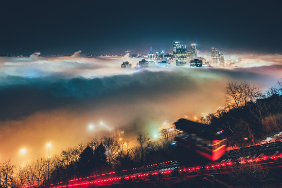 Incline in the fog at night in Pittsburgh