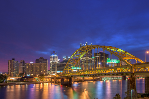 Colors skies above Pittsburgh and the Ft. Pitt Bridge